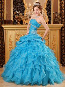 Memorable Teal Organza Long Sweet Sixteen Quinceanera Dress with Ruffles