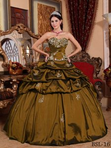 2013 Exquisite Sweetheart Long Sweet 16 Dress in Olive Green