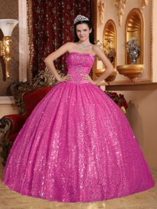 Discount Hot Pink Lace-up Special Fabric Quinceanera Dresses with Beading