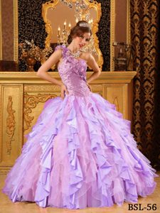 New One Shoulder Beaded and Ruffled Long Quinceanera Gown in Multi-color