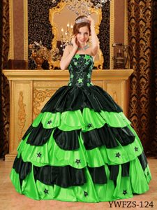 Magnificent Black and Spring Green Beaded Dresses for Quinceaneras