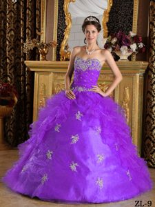Purple Organza Sweet Sixteen Quinceanera Dresses with Ruffles for Summer