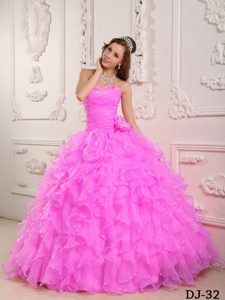 Gorgeous Sweetheart Long Organza Sweet Sixteen Dress in Baby Pink