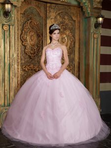 Popular Baby Pink Sweetheart Appliqued Sweet 15 Dress for Spring under 250