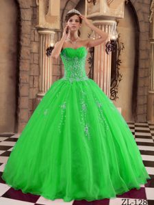 2014 Elegant Sweetheart Ruched and Beaded Organza Quinces Dress in Green