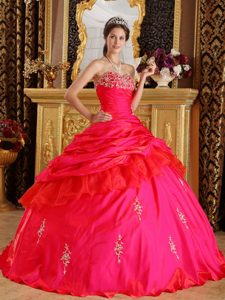 Impressive Ruched Long Red Quinceanera Dress with Beading