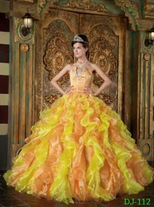 Charming Gold Ruffled and Beaded Organza Dresses for Quince in Floor-length