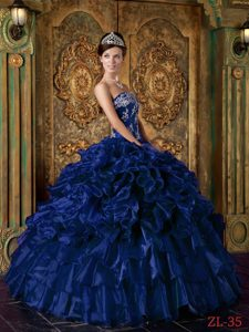 Strapless Ruffled Long Organza Dresses for Quinceaneras in Dark Blue