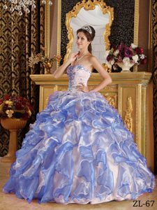 Romantic Sweetheart Long Organza Dresses for Quince with Appliques