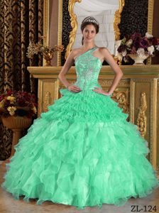 Apple Green One Shoulder Satin and Organza Sweet 16 Quinceanera Dresses