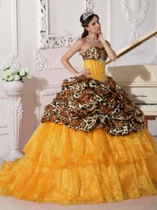 Fabulous Leopard and Organza Quinceanera Gowns in Orange with Brush Train