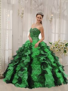 Special Sweetheart Beaded Lace-up Organza Quinceanera Gown in Multi-color