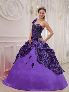 Sweet One Shoulder Long Zebra Quinceanera Dresses with Appliques