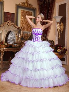 White and Purple Impressive Organza Dresses for Quinceanera with Appliques