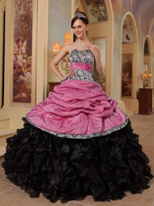 Charming Pink and Black Ruffled and Organza Dress for Quinceanera