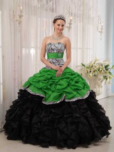 Attractive Sweetheart Green and Black Lace-up Dress for Quince with Ruffles