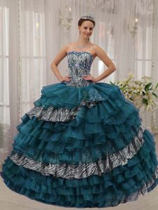 Romantic Turquoise Sweetheart Zebra and Organza Sweet Sixteen Dresses