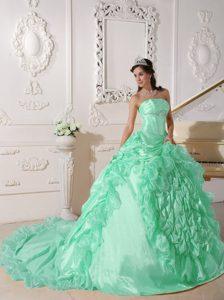 Popular Strapless Chapel Train Beaded Sweet 16 Dress in Apple Green