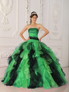 Popular Strapless Ruffled Lace-up Organza Quinceanera Gowns in Multi-color