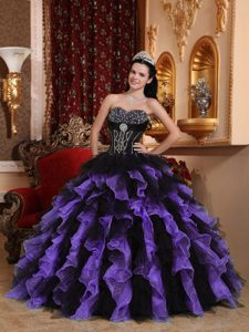 New Arrival Sweetheart Long Organza Quinceanera Gown in Purple and Black