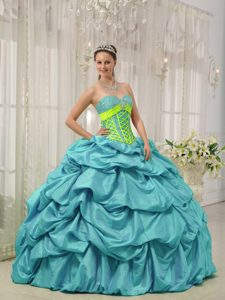 Aqua Blue Beaded Lace-up Wonderful Quinces Dresses for Summer under 250