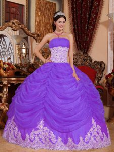 Elegant Purple Strapless Long Organza Beaded Dress for Quinceaneras