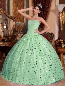 Charming Apple Green Sweetheart Tulle Beaded Dress for Quince with Sequins