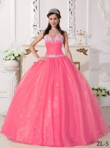 and Organza Appliqued Quinceanera Gown Dresses in Watermelon