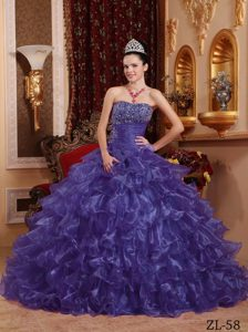 Memorable Purple Strapless Long Beaded Organza Quinceanera Gown