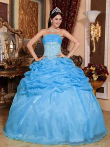 Fabulous Baby Blue Beaded Long Organza Quinces Dresses for Fall