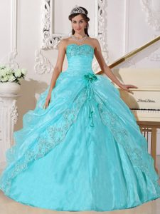 Latest Ball Gown Strapless Organza Embroidery with Beading Quinceanera Gowns