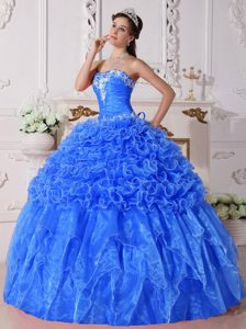 New Style Strapless Organza Quinceaneras Gowns with Embroidery in Baby Blue