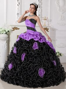Purple and Black Sassy Sweetheart Organza Quinces Dresses with Rolling Flowers