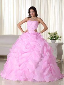 Popular Pink Strapless Dresses for Quinceaneras in Organza with Beading to Floor