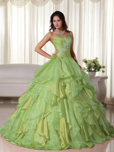 Cute Yellow Green Sweetheart Dresses for Quinceanera in Organza with Appliques