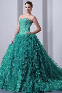 Lovely Turquoise A-line Sweetheart Brush Train Dress for Quinceanera in Organza