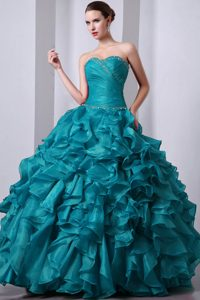 Fitted Teal A-line Organza Sweetheart Quinces Dresses with Beading and Ruffles