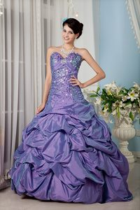 Fabulous Lilac A-line Sweetheart Quinces Gowns in with Colorful Sequins