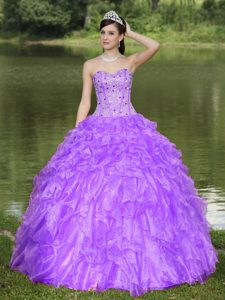 Best Purple Sweetheart Beaded Quinceanera Gowns Dresses with Ruffled Layers