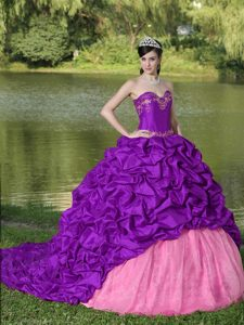 Elegant Purple Brush Train Dresses for Quinceaneras with Appliques and Pick-ups