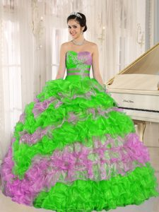 Multi-color Pretty Sweetheart Dresses for Quinceanera with Ruffles and Appliques