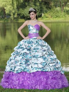 Sweet Sixteen Dresses in Colorful Printing and Organza with Pick-ups and Ruffles