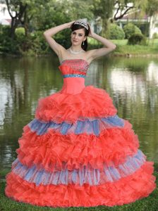 Traditional Beaded Organza Multi-color Strapless Quinceanera Gowns with Sequin