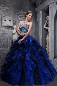 Memorable Blue Sweetheart Quinceaneras Gowns Dresses in Zebra and Organza