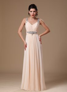 Chic Champagne Straps Long Ruched Prom Evening Dress with Beading
