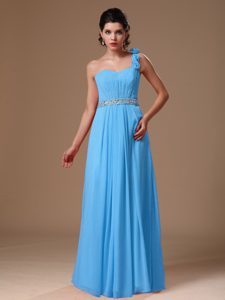 One Shoulder Long Aqua Blue Ruched Beaded Prom Dress with Flowers