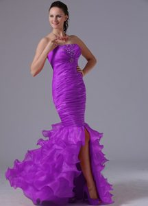 Strapless Long Purple Mermaid Ruched Beaded Prom Dress with Ruffles
