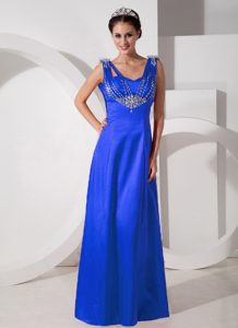 New Sky Blue Straps Long Prom Dress for Formal Evening with Beading