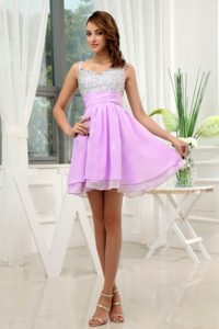 Straps Mini-length Lavender Layered Chiffon Prom Dress for Girls with Beading
