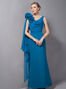 V-neck Long Teal Drapped Chiffon Prom Dress for Ladies with Flowers